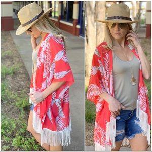 ✨LAST ONE✨Coral Tropical Print  Fringe Kimono